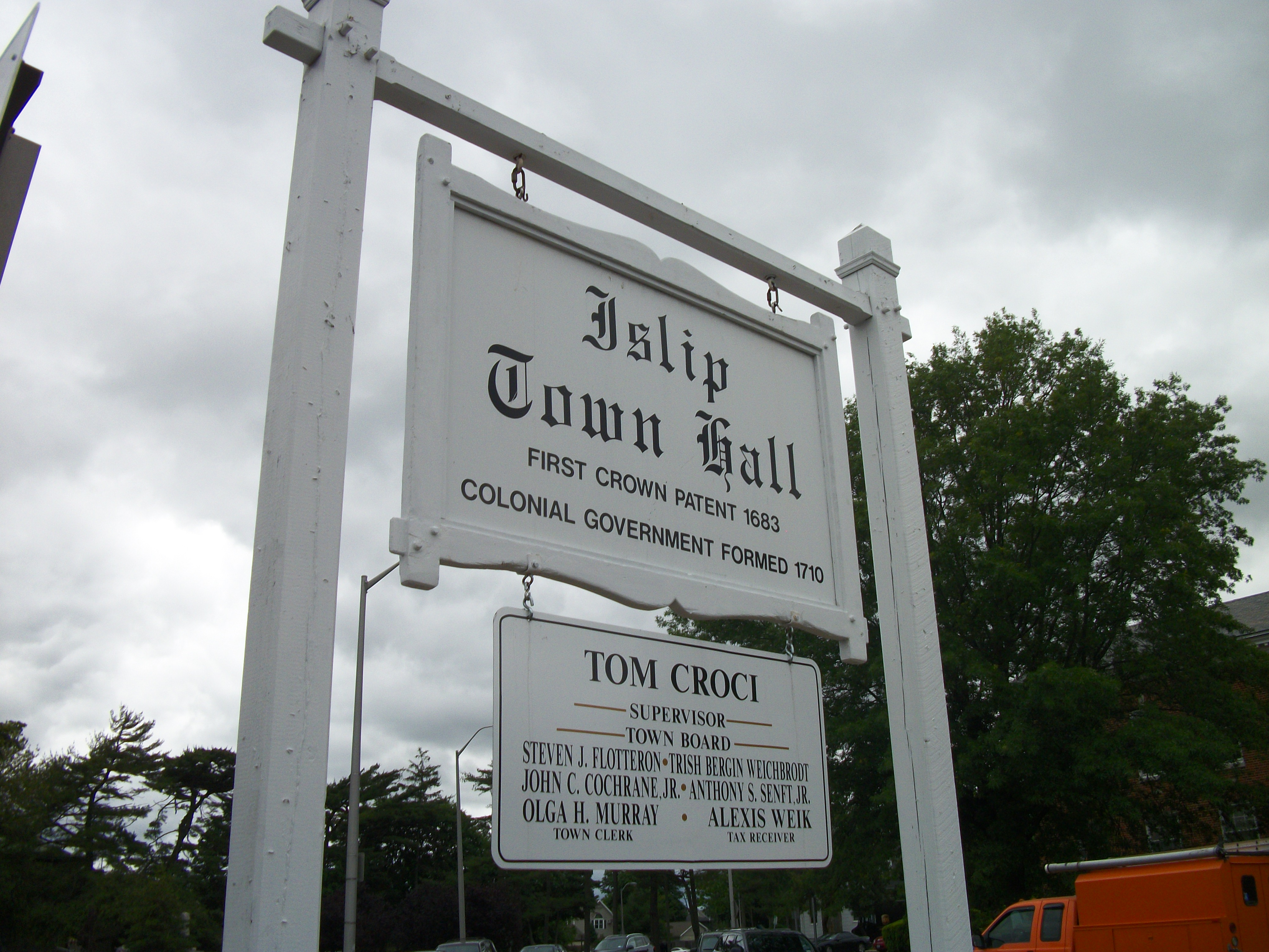 image islip town hall sign west view